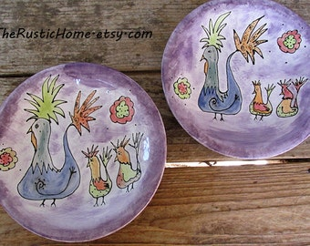 Rustic chickens pottery dinner plate made to order choose your colors custom pottery tableware rustic home decor birds farm flowers animals