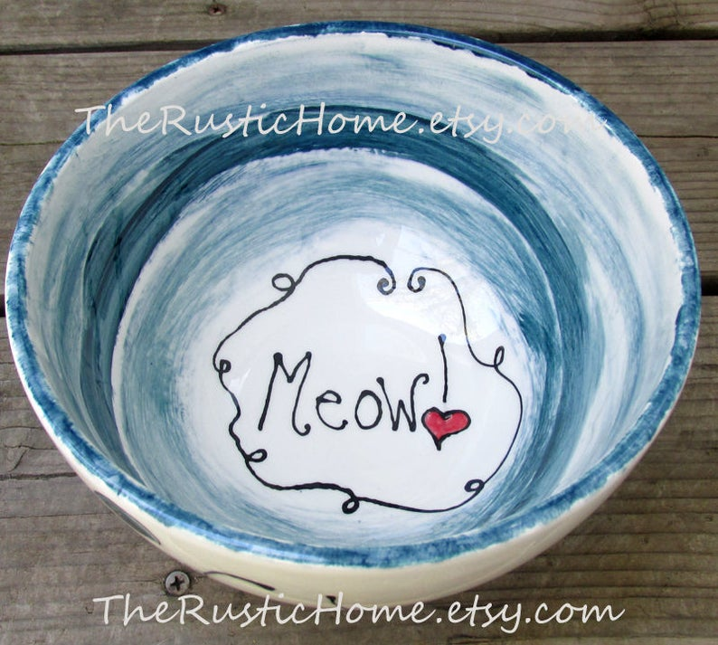 Custom pet bowl pottery pet food bowl water bowl nontoxic pet bowl cat bowl dog bowl personalized pet bowls made to order therustichome