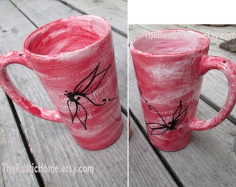 Pottery dragonfly mug choose your color custom pottery mugs dragonflies insects bugs tall mug