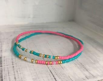 Mother Daughter Bracelet Set - Morse Code Stretchy Bead Bracelet - Back to School Gift, Pick your colors