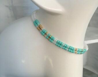 Soul Sisters Morse Code 2 pack Stretchy Bracelet Set - Teal