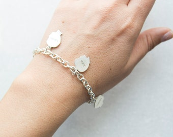 Mother's Day Charm Bracelet with Custom Silhouette Charms from Your Photos in Sterling Silver Grandma Charm Bracelet Heirloom Style