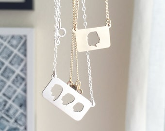 Mother's Day Necklace Bar Necklace Silhouette Jewelry Bridesmaids Jewelry Custom Silhouette Charm Laser Cut Jewelry Silver or Gold