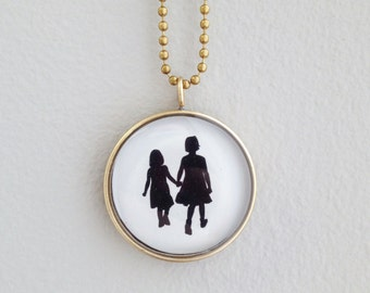 Custom Silhouette Necklace - Children's Silhouttes, Gift for Mom, One of a Kind