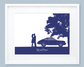 Personalized Wedding Gift, Engagement Gift, Couples Silhouette Print - Porsche 912 Silhouette, Proposal at the Park, Unframed
