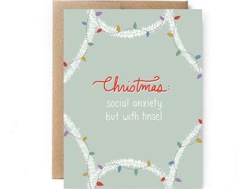 Funny Christmas Card - Holiday Stress Card - Christmas Tinsel