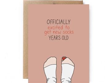 30th Birthday Card - Socks Birthday Card - Adult Birthday Card - Excited to Get Socks