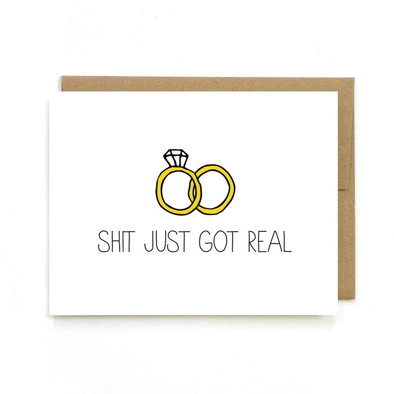 Engagement Card  Wedding Announcement  Sh-t Just Got Real  image 0