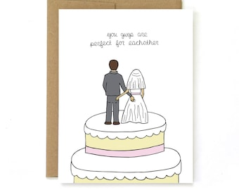 Funny Wedding Card - Wedding Congratulations - Card for Bride and Groom - Butt Touching Cake Toppers