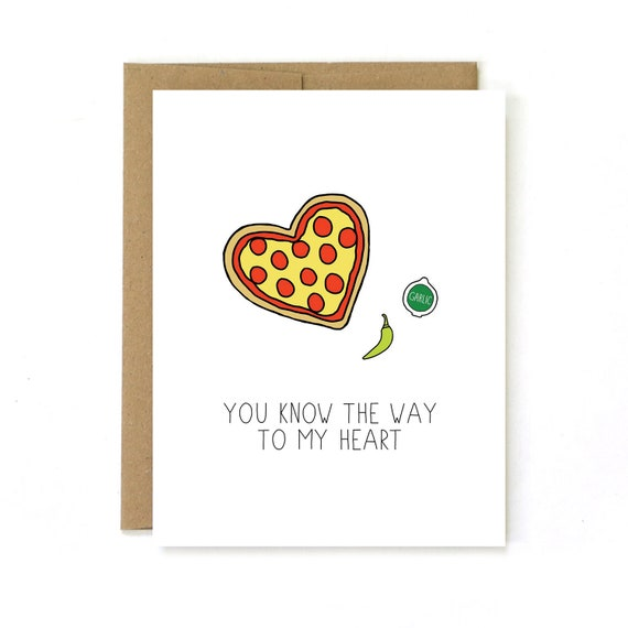 Karte Zum Valentinstag Herz Pizza Etsy