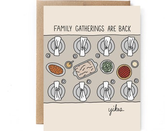 Funny Thanksgiving Card - Funny Holiday Card - Introvert Holiday Card - Family Gatherings