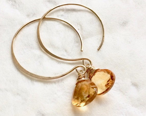 Citrine Earrings - Gold Earrings, Yellow Gemstone, November Birthstone