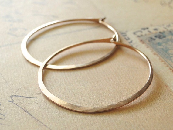 Rose Gold Hoop Earrings, Rose Gold Hoops