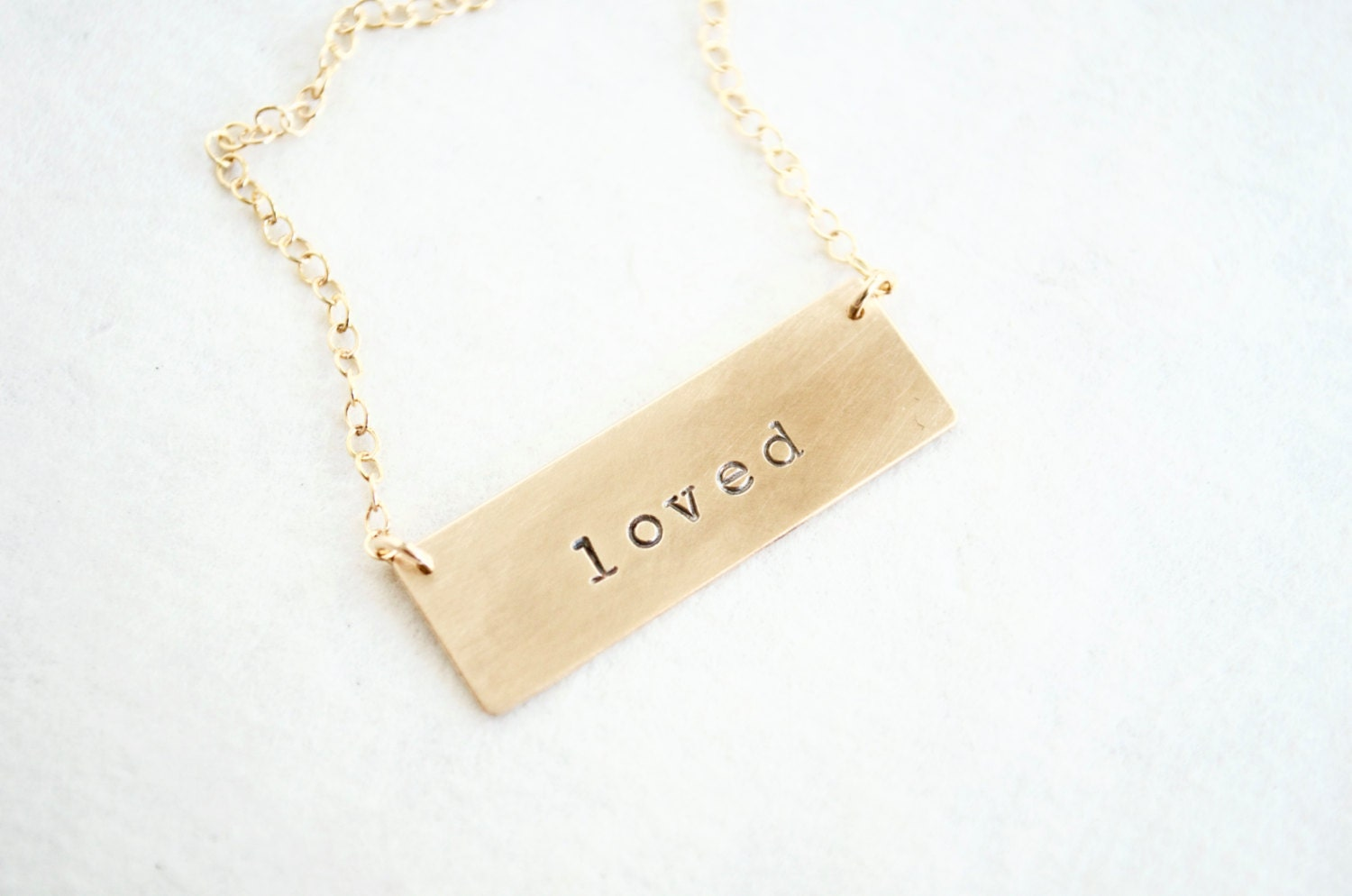 custom gold bar necklace 14k gold fill personalized