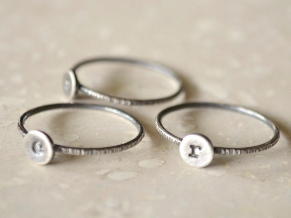 Stacked Initial Rings - Sterling Silver Set of Three (3), Silver Initial Ring, Personalized, Custom, Monogram Ring
