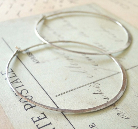 Big Silver Hoop Earrings, Sterling Silver Hoops, Silver Hoops