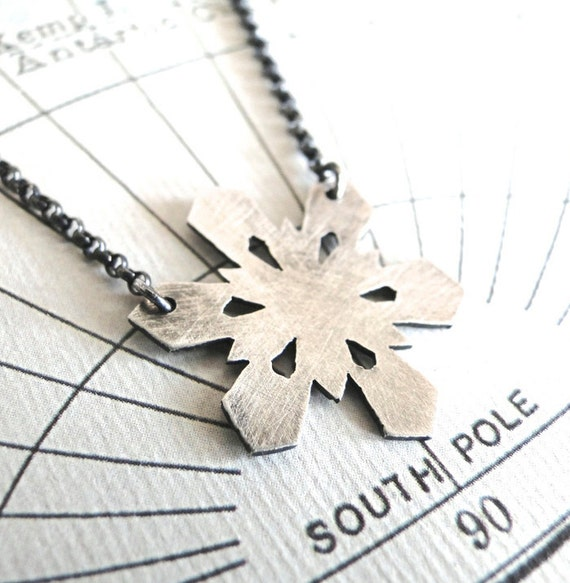 Snowflake Necklace, Sterling Silver, Nature Necklace, Winter