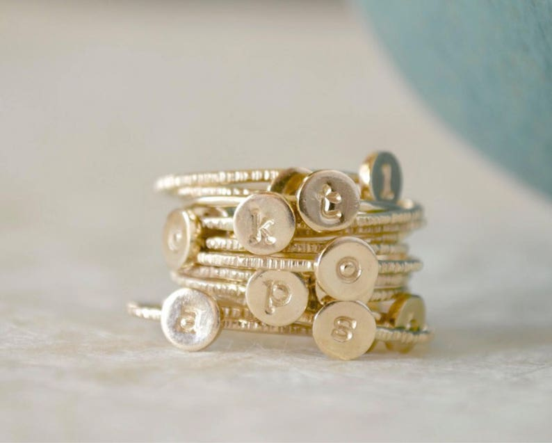 Stacking Initial Rings  Gold-Filled Set of Three Custom image 0