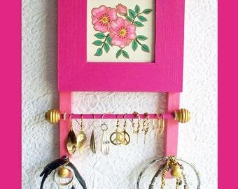 Small Wall Jewelry Holder Fuchsia , Wall Jewelry Holder, Jewelry Organizer, Wall Jewelry Hanger, Wood Jewelry Rack, Jewelry Display