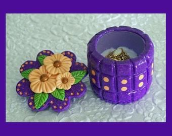 Ring Jewelry Keepsake Gift Box Peach Flowers