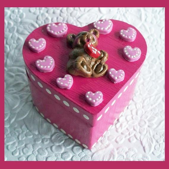 Pink Sweet Heart Shaped Trinket Box