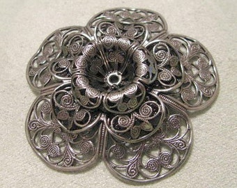 Beautiful Large Antique Silver Finish Stamping Filigree Finding
