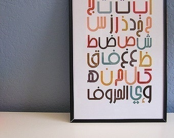 Modern Arabic Alphabet Poster