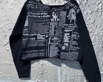 Crop newsprint black and  white portrait of an artist cotton sweatshirt .size m