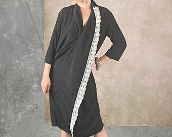 Lavazzon black kaftan casual dress