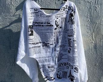 Black and white Asymmetrical newsprint sweatshirt. Oversize, comfy cotton .portrait of an Artist print