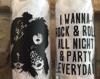 Rock and Roll All Night Kiss lyrics glass vase set of 2