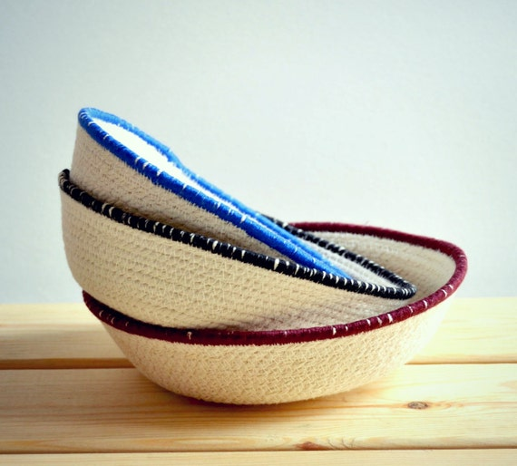 Three small decor bowls for a home office or as a bedside tray.