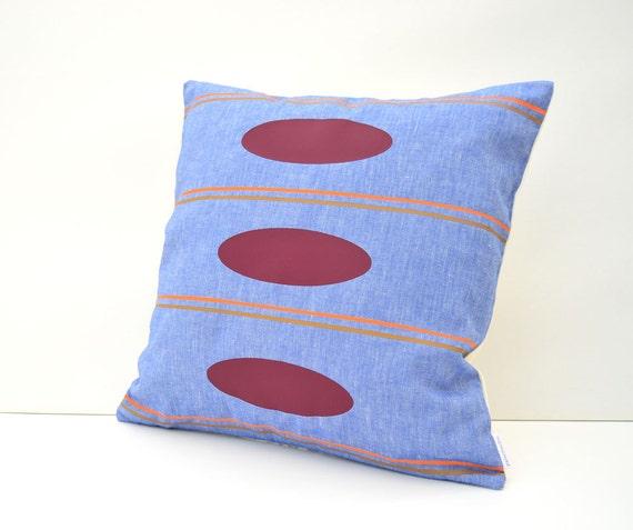 Geometric pillow, Pattern print pillow, Cotton pillow cover, Blue cotton pillow, Housewarming gifts, Retro style decor, Mid century modern