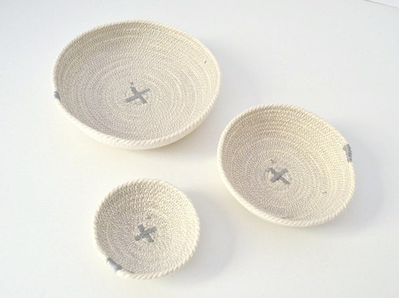 Grey and white decor, Office decor, Desk organiser, Cotton rope bowls, Set of cotton bowls Coiled cotton bowls, Ring cotton holder, Key bowl