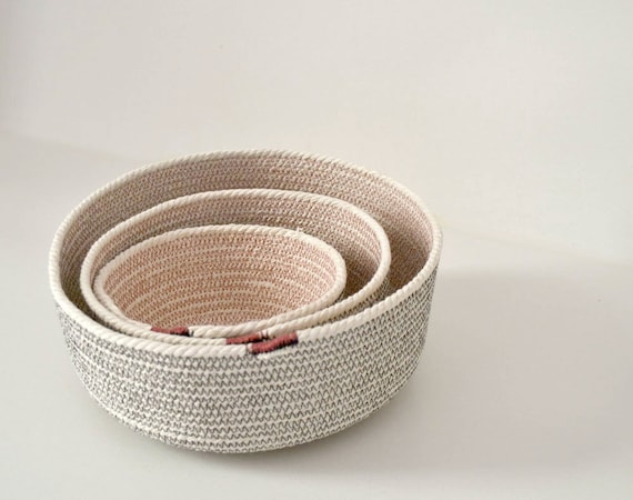 Coil rope basket, Breakfast basket, Powder room decor, Natural cotton rope, Pink and grey accent, Cotton bowl, Beach decor, Anniversary gift