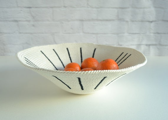 Modern home basket, Wall display basket, Tribal decor basket, Decorative bowl, Rope basket, Bread basket, Cotton anniversary, Cotton basket