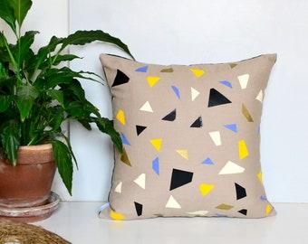 Terrazzo style beige linen pillow cover.