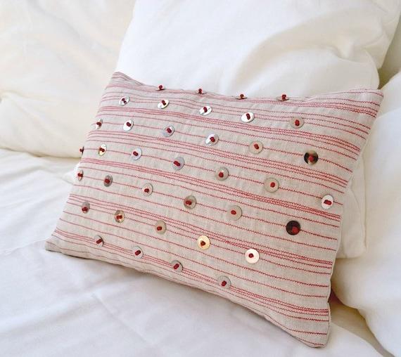 Embroidery pillow, Bohemian style decor, Tribal pillow cover, Housewarming gift, Throw pillow, Beige linen pillow, Accent pillow cover