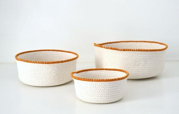 Centrepiece bowls, Camel and white Fabric coiled bowls, Cotton housewares, Stylish simple decor, Beach decor Rope basket Mediterranean decor