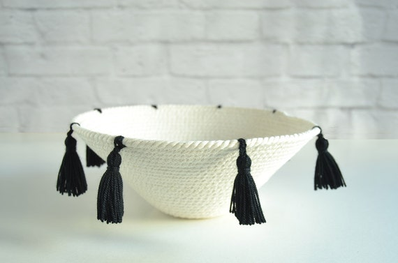 Decorative rope bowl for a Moroccan tribal decor Wall display basket
