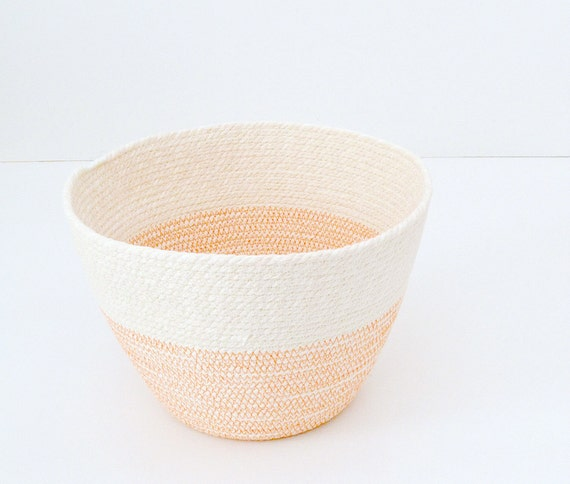 Planter basket, Small toys basket, Natural colours bowl Minimal beach house Orange and white Bread basket bowl, Beach style decor Fruit Bowl