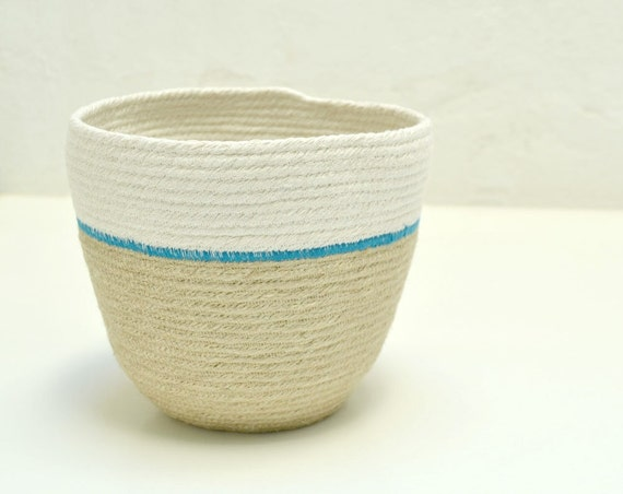 Indoor planter, Jute pot, Natural jute bowl, Vegetable basket, Plant basket, Home decor baskets, Utensil holder Jute basket, White and beige