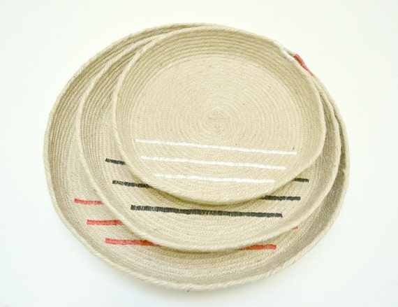 Basket set, Modern design bowl, Coffee table platter, Wall display baskets, Jute trays, Serving platters, Set of trays, Coastal living decor