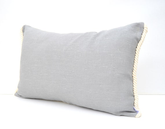 Country Modern White And Grey Linen Pillow Cover Nautical Etsy Magnificent Nautica Pillow Covers