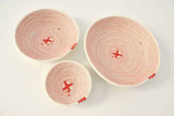 Jewelry plates, Desk organizer cotton basket or home organizer for keys. Great Coiled bowls for a beach decor. Set of cotton bowls.