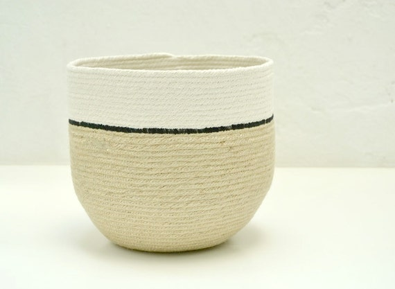 Jute basket, Home decor baskets, jute and cotton pot, plant holder, natural basket, rustic home decor, indoor planter, coil pot plant holder