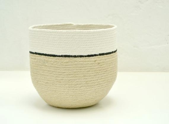 Jute basket, Home decor baskets, jute and cotton pot, plant holder, natural basket, rustic home decor, indoor planter, coil pot plant holder