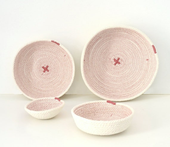 Nursery basket decor, Small decor bowls, Ring cotton holder, Neutral cotton decor, Mediterranean decor, Keys holder, Pink and white decor