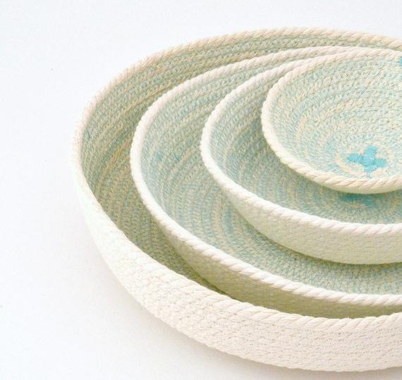 Key holder bowl, Office bowl decor, Cotton rope basket, Office organiser, Small basket storage, Set of plates, Wedding gifts, Coiled baskets