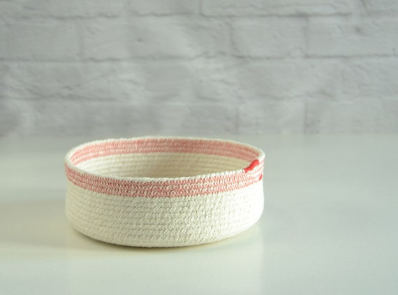 Nursery basket, Fruit fabric basket, Bedside basket, Small decor bowl, Cotton rope bowl, Red and white, Cotton rope basket, Key bowl, Cotton